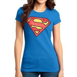 Superman T-Shirt Bright Blue Size Medium